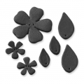 7  flowers and leather leaves to decorate 27-55 mm Black x1