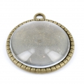 Gift - Metal medallion with magnifying glass cabochon to customize 28.5 mm bronze x1