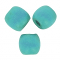 Wood round beads with large hole 18x16 mm Turquoise x20