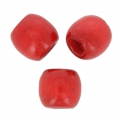 Wood round beads with large hole 18x16 mm Red x20