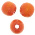Wood round beads with large hole 18x16 mm Orange x20