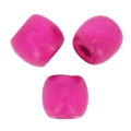 Wood round beads with large hole 16 mm Fuchsia x20