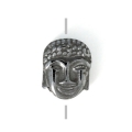 Hematite bead Head of Buddha 8.5x7x4 mm Jet Hematite x1