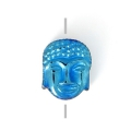 Hematite bead Head of Buddha 8.5x7x4 mm Blue Metallic x1