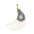 Nacre pendant plasticine and strass 50 mm half-moon or horn shape