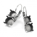 Leverback Earrings for Swarovski Cabochons 1028/1088 8 et 6 mm Old Silver Tone x2