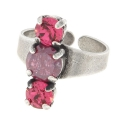 Ring for 3 cabochons Swarovski 1028/1088 6-8 mm mm Old silver tone
