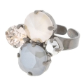 Ring for 3 cabochons Swarovski 1028/1088 6-8mm 1122 et 4470 12mm Old silver tone