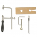 Jewelry tooling kit - bocfil + fretsaw nr 2/0 + wooden workbench dowel