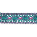 Crochet lace in-between 25 mm Green Turquoise/Fuchsia x1m
