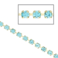 Rhinestones chain in cut crystal 2.10 mm Aquamarine x50cm