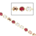 Rhinestones chain in cut crystal 2.10 mm Crystal/Rose Gold/Ruby x50cm