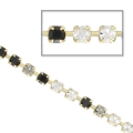 Rhinestones chain in cut crystal 2.10 mm Jet/Black Diamond/Crystal x50cm