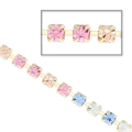 Strass chain in cut crystal 2.10 mm Crystal/Light Peach/Light Rose/Sapphire x50cm