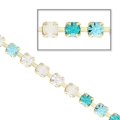 Rhinestones chain in cut crystal 2.10 mm Crystal/Aqua/BlueZircon/White Opal x50cm