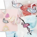 Assortment of 24 straws - Magical Summer - flamingo - Black/Pink x1