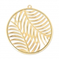 Metal pendant with palm tree leafs 46mm Gold Tone x1