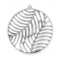 Metal pendant with palm tree leafs 46mm Old Silver Tone x1