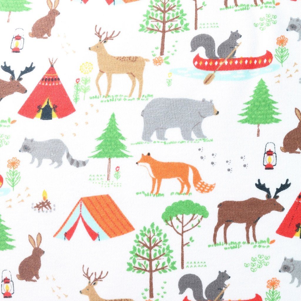 Jersey cotton fabric - Camping dans la forêt - Camping ...