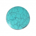 Handcraft polymer clay cabochon - Puck 30 mm with a groove Turquoise