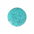 Handcraft polymer clay cabochon - Puck 25 mm with a groove Turquoise