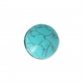 Handcraft polymer clay cabochon -  Curved 19 mm with a groove Turquoise