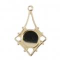 Thin Gold filled pendant 22 mm for flat back 7 mm cabochon - 14 carats