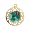 Gold filled medallion pendant 13 mm for 8 mm flat back cabochon 14 carats