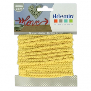 Knitting thread for customization 5 mm Yellow x 5m