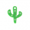 Tropcial cactus charm 19,5 mm - costume jewelry creation - Green