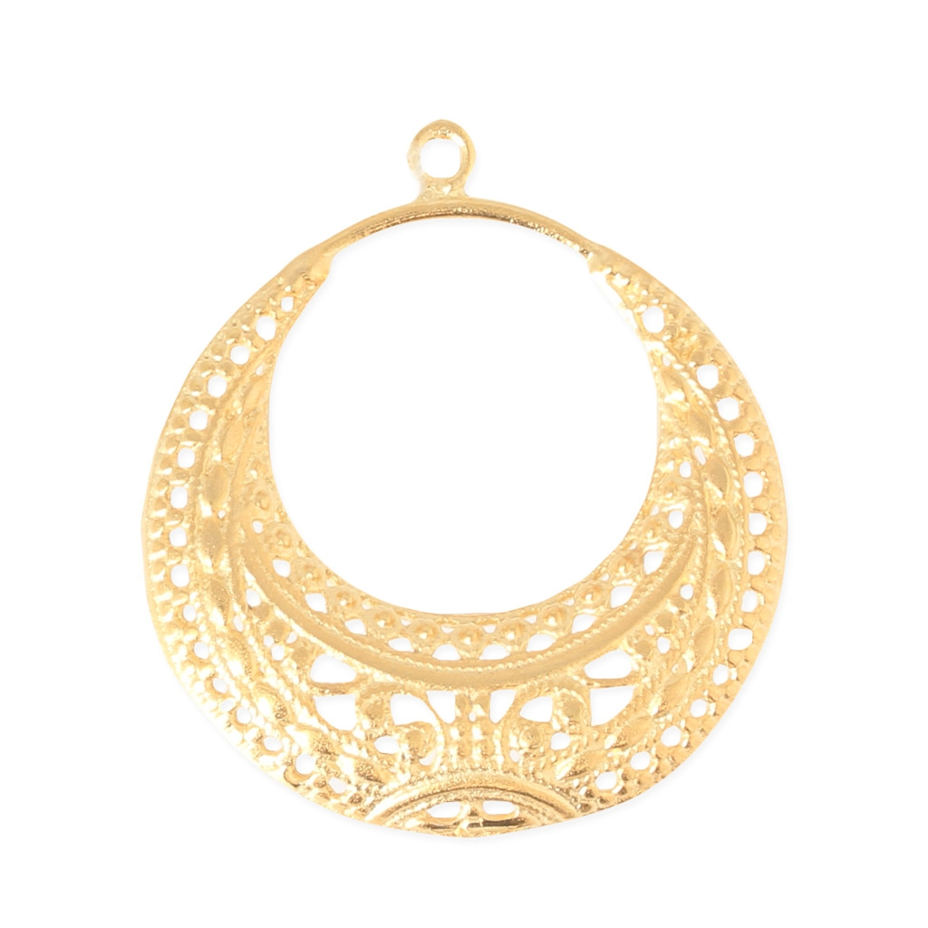 spacer earring ethnic motif 27 mm gold tone perles co