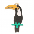 Toucan wooden pendant 70x38mm - for DIY costume jewelry creation x1