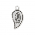 Leaf pendant with fish motif 9x15 mm Old Silver Tone