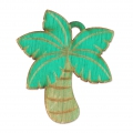 Wooden palm tree pendant 39x46 mm - for DIY creation of accessories & jewels