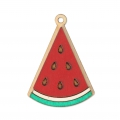 Wooden watermelon pendant 29x40 mm - for DIY creation of accessories & jewels