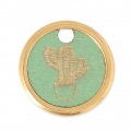 Wood and metal round cactus charm 20 mm Green/Gold Tone x1