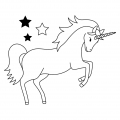 Wooden stamp 5,5 x 7 cm Unicorn x1