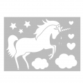 Decorative stencil medium size 29,7 x 21 cm Unicorn/Star/Cloud/Heart