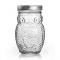 Glass jar 400 ml owl pattern x1