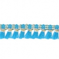 Galon with tassels 10mm Turquoise/Gold Tone x1m