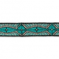 Graphic ribbon ethnic Aztec motif 20 mm Green Turquoise/Black x1m