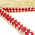 Embroidered galon with mirrors 30 mm Red/Elm x1m