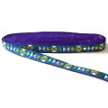 Embroidered galon with mirrors 20 mm Purple/Green Turquoise/Ochre x1m