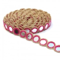 Embroidered galon with mirrors 30 mm Fuchsia/Gold Tone x50cm