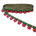 Embroidered galon with pretty flowers 35 mm Fuchsia/Orange/Green x50cm