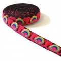 Embroidered galon with Camellia 30 mm Multicolored/Black  x50cm