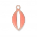 Epoxy resin metal shell charm 10 mm Coral x 8