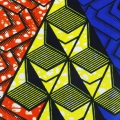 Wax fabric - Rafters Cubes 3D - Yellow/Blue/Orange x10cm