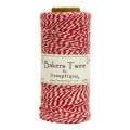 Bobbin of 125 meters of Bakers Twine 1 mm White/Red