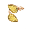 Double ring cabochon Swarovski Pear 4320 14 x 10 mm 925 Silver gold x1